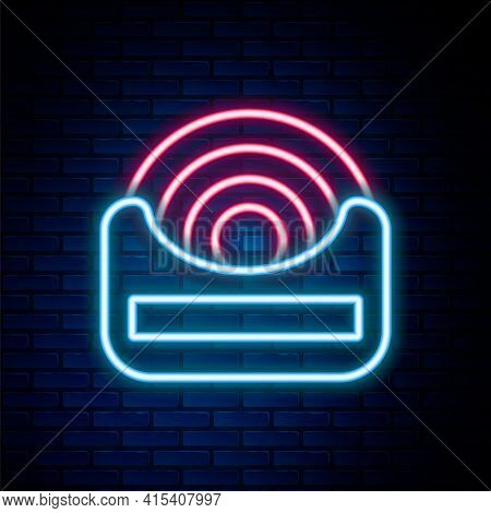 Glowing Neon Line Dental Floss Icon Isolated On Brick Wall Background. Colorful Outline Concept. Vec