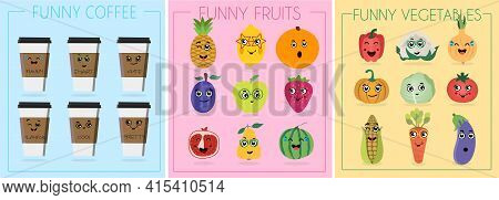 Funny Cartoon Character. Vector Illustration. A Set Of Flat Vegetables, Cups Of Coffee And Fruits Wi