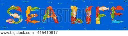 Creative Sea Life Lettering. Editable Vector Illustration