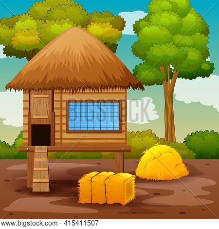 Scene With Chicken Coop In The Farm Landscape