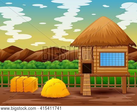 Chicken Coop In The Middle Of Nature Landscape