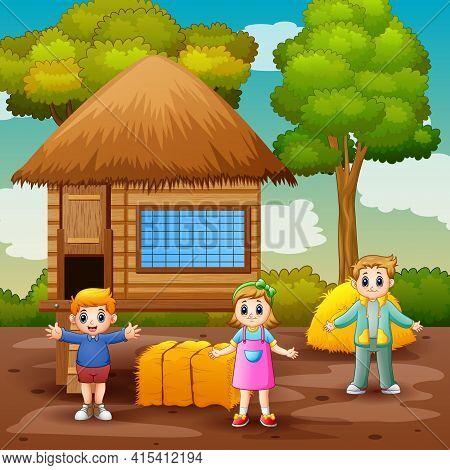 Scene With Children And Chicken Coop Illustration