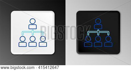 Line Business Hierarchy Organogram Chart Infographics Icon Isolated On Grey Background. Corporate Or