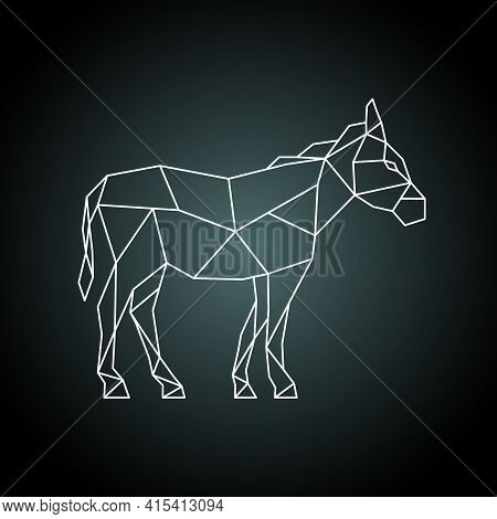 Donkey In Polygonal Style. Donkey Silhouette Made Of Geometric Shapes. Stock Vector Illustration.