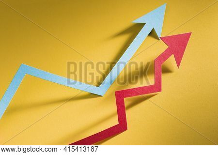 Paper Arrow Indicating Economy Growth . High Quality And Resolution Beautiful Photo Concept