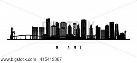 Miami Skyline Horizontal Banner. Black And White Silhouette Of Miami, Florida. Vector Template For Y