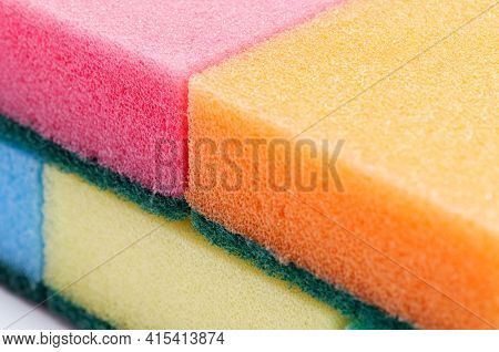 Background of multicolour kitchen sponges for ware washing