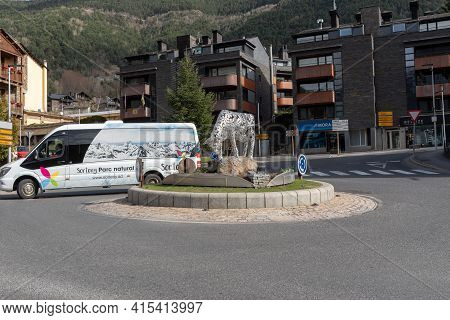 Ordino, Andorra: 2021 March 30: Local Bus In The  The Street In Spring In Ordino, Andorra In The Pyr