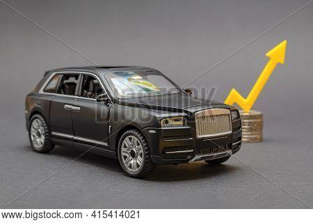 Car Insurance. Car Insurance Price, Insurance Cost. Rising Car Prices. Yellow Arrow Pointing Upwards