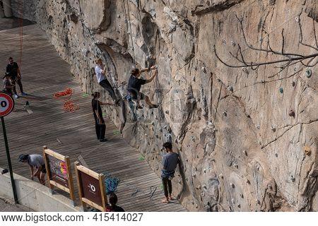 Ordino, Andorra: 2021 March 30: Spring Climbing Wall In Ordino, Andorra In The Pyrenees In 2021.