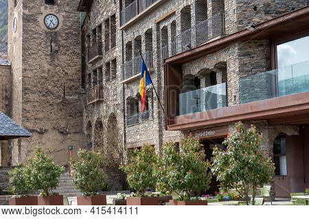 Ordino, Andorra: 2021 March 30: Comu De Ordino In Spring In Ordino, Andorra In The Pyrenees In 2021.