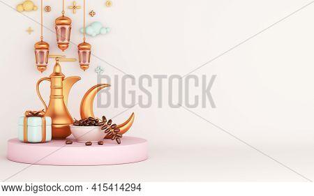 Islamic Decoration Background With Teapot, Date Fruit, Crescent, Gift Box, Lantern Cartoon Style, Ra