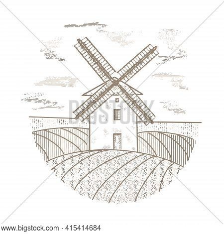 Windmill On The Background Of Fields In Vintage Retro Style