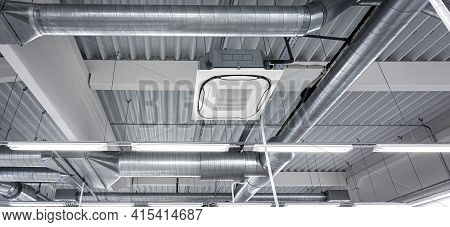 Ceiling Mounted Cassette Type Air Condition Units With Other Parts Of Ventilation System (tubes, Cab