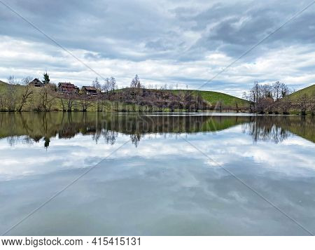 Late Winter And Early Spring On The Small Natural Lake Wilersee Or Wiler Lake Above The Canyon Of Th