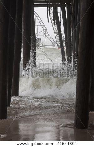 Seaside Heights, Nj - Jan 13: Waves Break Against The Submerged Casino Pier Star Jet Roller Coaster
