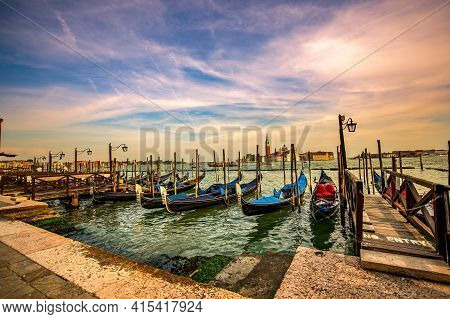 Gondolas Moored By Saint Mark Square, Beautiful Venice, Italy, Europe
