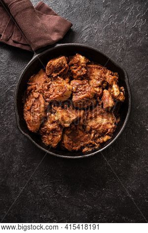 Meat Stew. Beef Stewed In Red Wine Sauce, Top View, Copy Space. Slow Cooked Braised Meat In Cast Iro