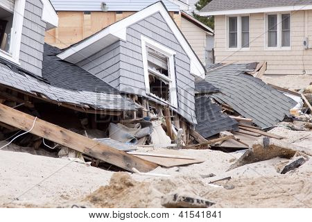 LAVALLETTE, NJ - JAN 13: The remnants of homes destroyed after Hurricane Sandy struck the shore in October 2012 on January 13, 2013 in Lavallette, New Jersey. Clean up continues 75 days later.