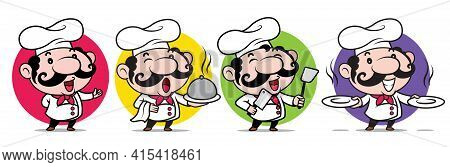 Cartoon Cute Chef Mascot Set. Happy Smiling Italian Chef With Big Moustache Holding Different Kind O