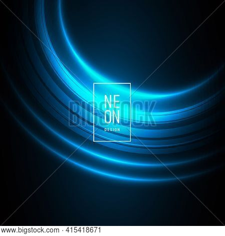 Card Or Web Banner Backdrop With Bright Light Neon Curve, Blue Luminosity Light With Frame And Neon