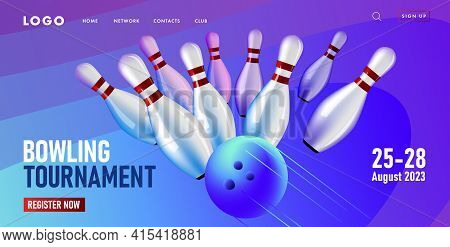 Web Page Banner With Tournament Event, Bowling Club Competition, Falling Bowling Pins Hit By Ball, D
