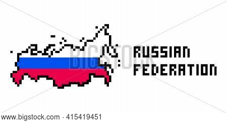 2d 8 Bit Pixel Art Russian Federation Map Covered With Flag Isolated On White Background. Old School