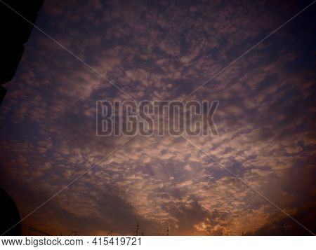 Pink, Red, Purple Sunset Sky Cloud. Dramatic Sunset Sky. Wonderful Sunset. Clouds In The Evening Sky