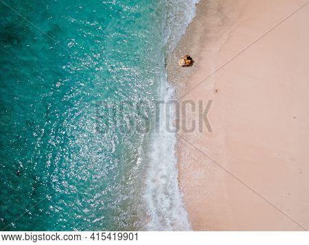 Playa Kalki Curacao Tropical Island In The Caribbean Sea, Aerial View Over Beach Playa Kalki On The