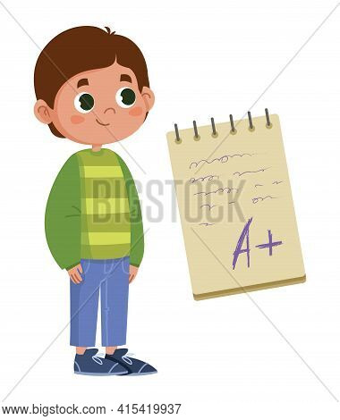 School Boy Rejoices At A Good Mark For The Exam Inscription On The Notebook Vector Flat. The Test Re