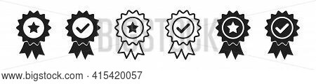 Approve And Certificate Icon. Vector Quality Medal Badge Collection.