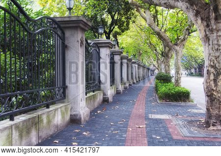 A Wrought Iron Fence And Sycamore Lined Sidewalk In The French Concession Area Of Puxi In Shanghai C
