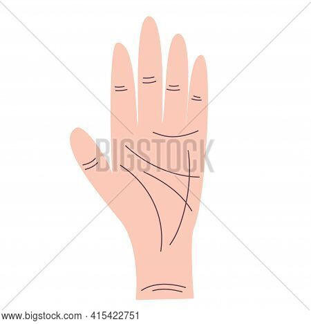 Hand Lines For Palmistry Is Isolated On White Background. Flat Illustration With Lines. Esoteric Vec