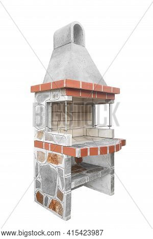 Small Barbecue Open Fireplace With Shelf For Cookout Food. Outdoor Bbq Grill. Open Summer Kitchen. B