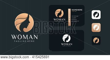 Beauty Woman Face Negative Gold Logo Design Vector Illustration. Logo Can Be Used For Icon, Brand, I