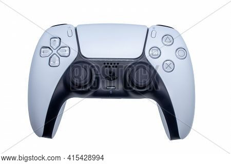 Playstation 5 Game Controller Isolated On White Background. Black And White Joystick The Gaming Play