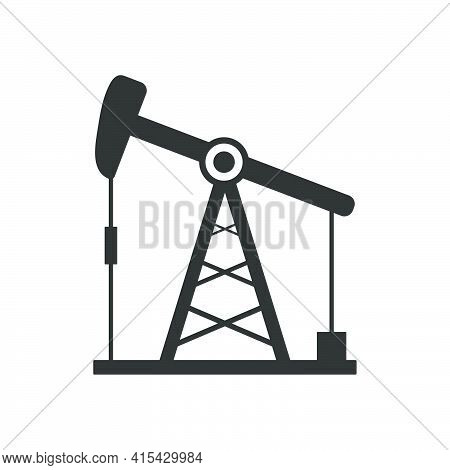 Oil Rig Icon. Pump Jack Sign. Oil Drilling Wells Symbol. Vector Isolated On White