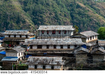 View Of Traditional House In Ghandruk In Northern-central Of Nepal. Ghandruk Village Is Most Popular