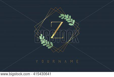 Golden Letter Z Logo With Golden Square Frames And Green Leaf Design. Creative Vector Illustration W