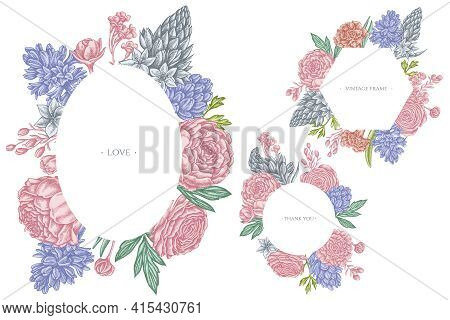 Floral Frames With Pastel Peony, Carnation, Ranunculus, Wax Flower, Ornithogalum, Hyacinth Stock Ill