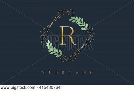 Golden Letter R Logo With Golden Square Frames And Green Leaf Design. Creative Vector Illustration W