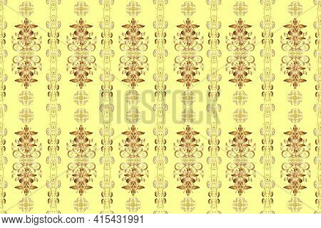 Raster Golden Pattern. Oriental Style Arabesques. Yellow, Brown And Beige Colors With Gold Elements.