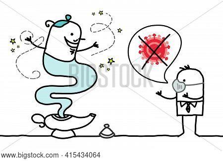 Hand Drawn Cartoon Man With Genie Of The Lamp, Wishing To Stop The Corona-virus