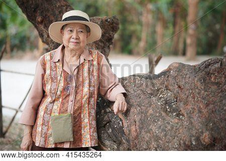Asian Old Elderly Female Elder Woman Resting Relaxing In Garden. Senior Leisure Lifestyle