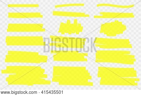 Hand Drawn Yellow Highlight Marker Lines Isolated On Transparent Background. Set Of Yellow Hand Draw