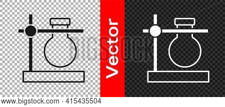 Black Glass Test Tube Flask On Stand Icon Isolated On Transparent Background. Laboratory Equipment.