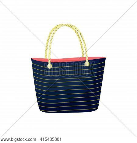 A Navy Navy-style Beach Bag With Beige Stripes And Rope Handles. Summer Or Shopping Clipart, Icon. V
