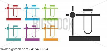 Black Glass Test Tube Flask On Stand Icon Isolated On White Background. Laboratory Equipment. Set Ic