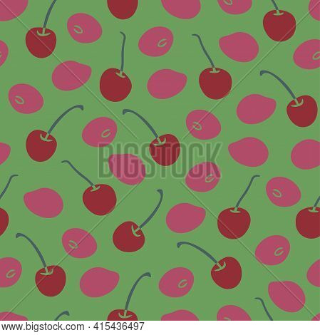 Vector Seamless Pattern With Ripe Cherries On Green Background. Ripe Fruits Design.