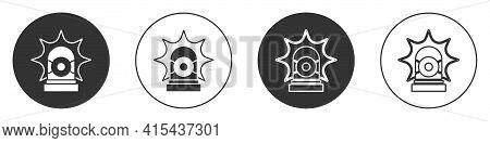 Black Flasher Siren Icon Isolated On White Background. Emergency Flashing Siren. Circle Button. Vect